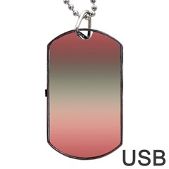 Tea Rose And Sage Gradient Ombre Colors Dog Tag Usb Flash (two Sides)