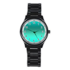 Teal Turquoise Green Gradient Ombre Stainless Steel Round Watch by SpinnyChairDesigns