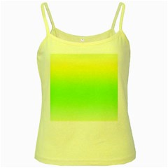 Lemon Yellow And Lime Green Gradient Ombre Color Yellow Spaghetti Tank by SpinnyChairDesigns