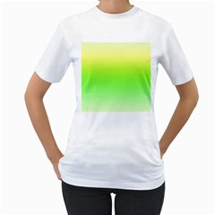 Lemon Yellow And Lime Green Gradient Ombre Color Women s T-shirt (white) (two Sided)