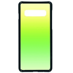 Lemon Yellow And Lime Green Gradient Ombre Color Samsung Galaxy S10 Seamless Case(black) by SpinnyChairDesigns