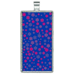 Bisexual Pride Tiny Scattered Flowers Pattern Rectangle Necklace by VernenInkPride