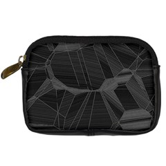 Black Tourmaline Stone Geometric Pattern Digital Camera Leather Case by SpinnyChairDesigns