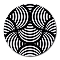 Abstract Black And White Shell Pattern Round Mousepads by SpinnyChairDesigns