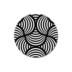 Abstract Black And White Shell Pattern Magnet 3  (round) by SpinnyChairDesigns