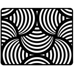 Abstract Black And White Shell Pattern Double Sided Fleece Blanket (medium)  by SpinnyChairDesigns