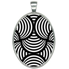 Abstract Black And White Shell Pattern Oval Necklace by SpinnyChairDesigns