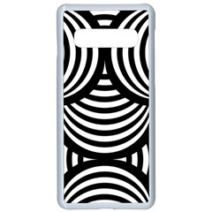 Abstract Black And White Shell Pattern Samsung Galaxy S10 Seamless Case(white) by SpinnyChairDesigns
