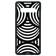 Abstract Black And White Shell Pattern Samsung Galaxy S10 Plus Seamless Case (black) by SpinnyChairDesigns