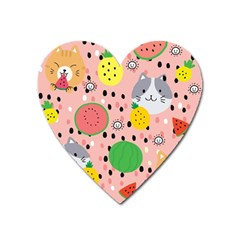 Cats And Fruits  Heart Magnet by Sobalvarro