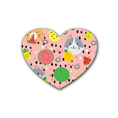 Cats And Fruits  Rubber Coaster (heart)  by Sobalvarro