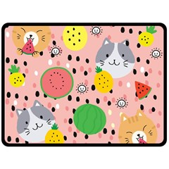 Cats And Fruits  Fleece Blanket (large)  by Sobalvarro