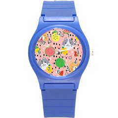 Cats And Fruits  Round Plastic Sport Watch (s) by Sobalvarro