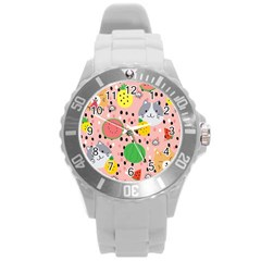 Cats And Fruits  Round Plastic Sport Watch (l)
