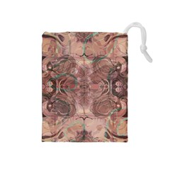 Tea Rose Pink And Brown Abstract Art Color Drawstring Pouch (medium)