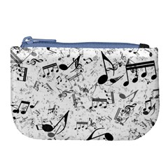 Black And White Music Notes Large Coin Purse by SpinnyChairDesigns