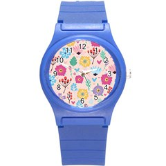 Tekstura-fon-tsvety-berries-flowers-pattern-seamless Round Plastic Sport Watch (s)