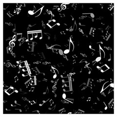 Black And White Music Notes Long Sheer Chiffon Scarf