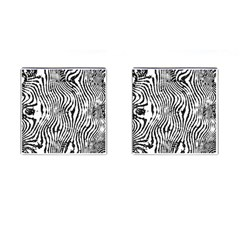 Zebra Print Stripes Cufflinks (square) by SpinnyChairDesigns