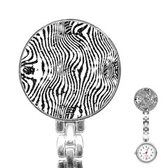 Zebra Print Stripes Stainless Steel Nurses Watch by SpinnyChairDesigns