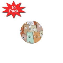 Colorful-baby-bear-cartoon-seamless-pattern 1  Mini Buttons (10 Pack)
