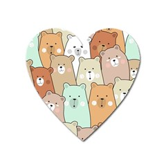 Colorful-baby-bear-cartoon-seamless-pattern Heart Magnet by Sobalvarro