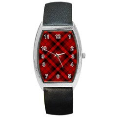 Red And Black Plaid Stripes Barrel Style Metal Watch by SpinnyChairDesigns