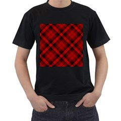 Red And Black Plaid Stripes Men s T-shirt (black) by SpinnyChairDesigns