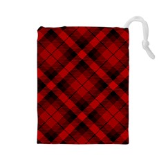 Red And Black Plaid Stripes Drawstring Pouch (large) by SpinnyChairDesigns