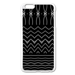 Black And White Minimalist Stripes  Iphone 6 Plus/6s Plus Enamel White Case by SpinnyChairDesigns