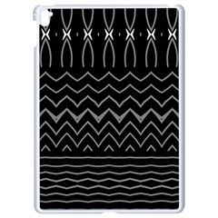 Black And White Minimalist Stripes  Apple Ipad Pro 9 7   White Seamless Case by SpinnyChairDesigns
