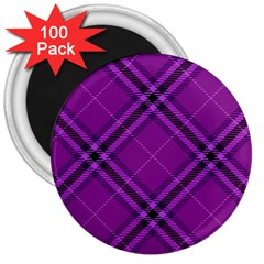Purple And Black Plaid 3  Magnets (100 Pack) by SpinnyChairDesigns