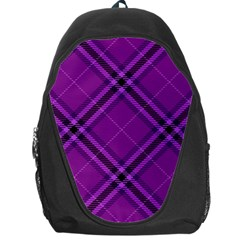 Purple And Black Plaid Backpack Bag by SpinnyChairDesigns