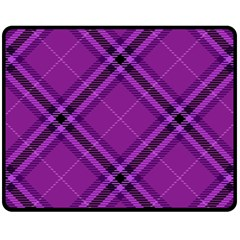 Purple And Black Plaid Double Sided Fleece Blanket (medium)  by SpinnyChairDesigns