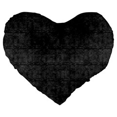 Matte Charcoal Black Color  Large 19  Premium Flano Heart Shape Cushions by SpinnyChairDesigns