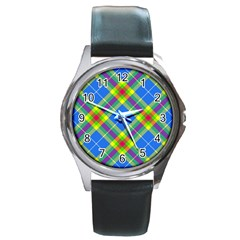 Clown Costume Plaid Striped Round Metal Watch by SpinnyChairDesigns