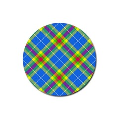 Clown Costume Plaid Striped Rubber Coaster (round)  by SpinnyChairDesigns