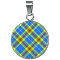 Clown Costume Plaid Striped 20mm Round Necklace by SpinnyChairDesigns