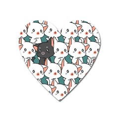 Seamless-cute-cat-pattern-vector Heart Magnet by Sobalvarro