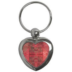 Indian Red Color Geometric Diamonds Key Chain (heart)