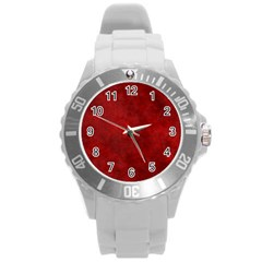 Scarlet Red Velvet Color Faux Texture Round Plastic Sport Watch (l)