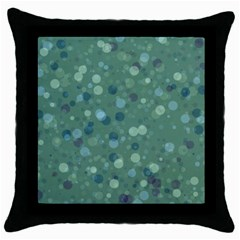 Green Color Polka Dots Pattern Throw Pillow Case (black) by SpinnyChairDesigns