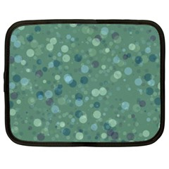 Green Color Polka Dots Pattern Netbook Case (xxl) by SpinnyChairDesigns