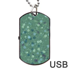 Green Color Polka Dots Pattern Dog Tag Usb Flash (one Side) by SpinnyChairDesigns