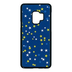 White Yellow Stars On Blue Color Samsung Galaxy S9 Seamless Case(black) by SpinnyChairDesigns