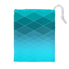 Aqua Blue And Teal Color Diamonds Drawstring Pouch (xl)