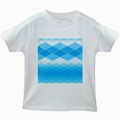 Light Blue And White Color Diamonds Kids White T-shirts by SpinnyChairDesigns