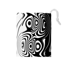 Black And White Abstract Stripes Drawstring Pouch (medium)