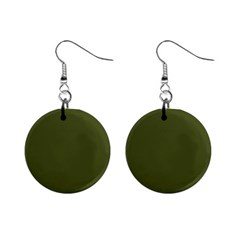 Army Green Solid Color Mini Button Earrings by SpinnyChairDesigns