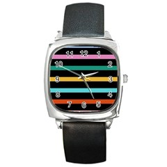 Colorful Mime Black Stripes Square Metal Watch by tmsartbazaar